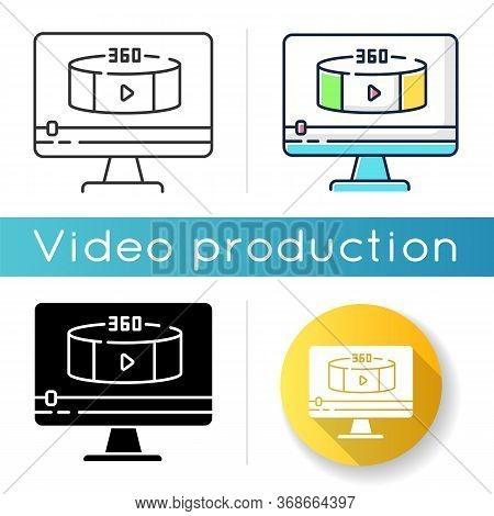 360 Degree View Video Icon. Virtual Reality Footage Streaming. Panoramic Scenery Shooting. Digital C