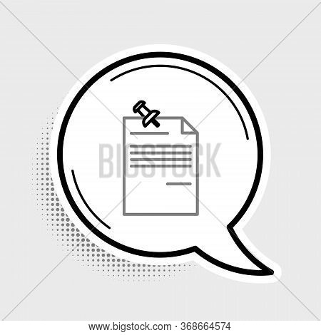 Line Note Paper With Pinned Pushbutton Icon Isolated On Grey Background. Memo Paper Sign. Colorful O
