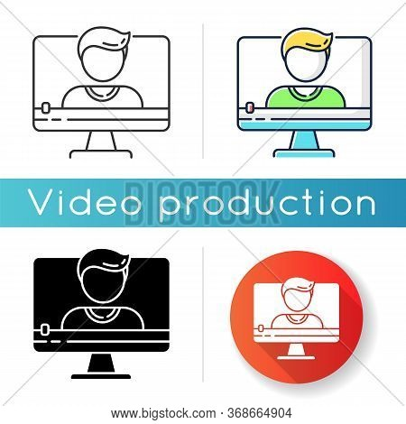 Talking Head Video Icon. Documentary Film And Video Blog Content. Online Interview. Video Chat Conve