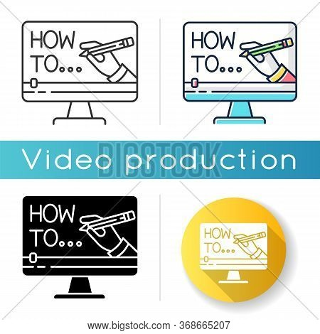 Explainer Video Icon. Internet Course Watching. Online Teaching. Diy Blog Content. Digital Lesson. D
