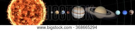 Solar System Planets In Outer Space. Mercury, Venus, Earth With Moon, Mars, Jupiter, Saturn, Uranus,