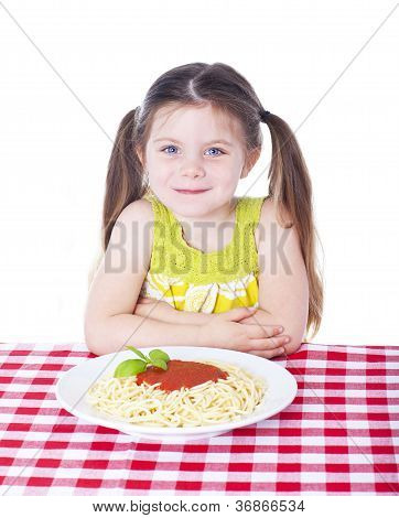 Beautiful Girl With Big Bowl Of Pasta