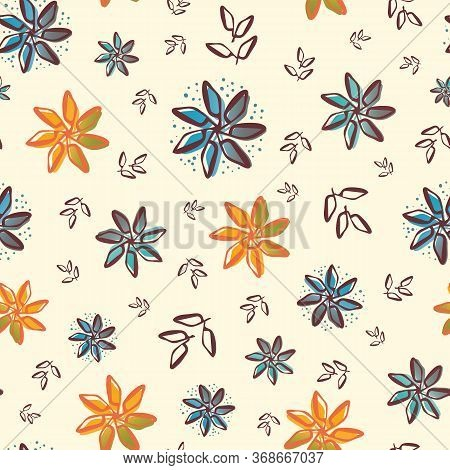 Retro Flowers And Leaves Seamless Vector Pattern Background. Painterly Orange And Blue Blooms Foliag