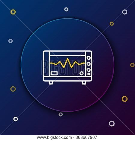 Line Computer Monitor With Cardiogram Icon Isolated On Blue Background. Monitoring Icon. Ecg Monitor