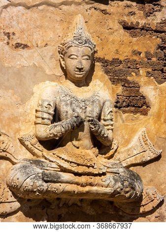 Ancient Stucco Patterns ,wat Chet Yot Temple,b.e. 1998 King Bhumibol Adulyadej The 9th King Of The M