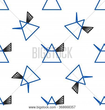 Line Light Rays In Prism Icon Isolated Seamless Pattern On White Background. Ray Rainbow Spectrum Di