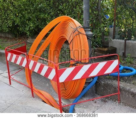 Roadworks With Pipeline To Instal Fibre Optical Cables In The City