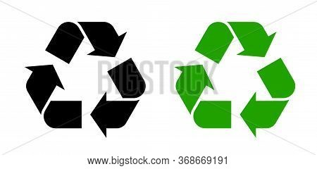Recycle Symbol Icon Vector Set. Reusing Symbols. Isolated On White Background