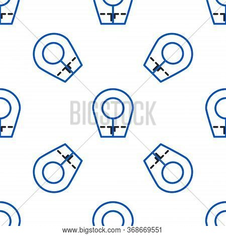 Line Diving Hood Icon Isolated Seamless Pattern On White Background. Spearfishing Hat Winter Swim Ho