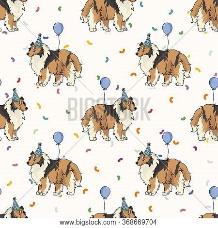 Hand Drawn Cute Rough Collie Breed Dog With Party Hat Seamless Vector Pattern. Purebred Pedigree Pup