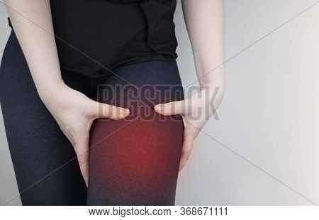 A Woman Suffers From Hip Pain. The Concept Of Treating A Hip Joint For Trauma, Plantation Or Osteoar