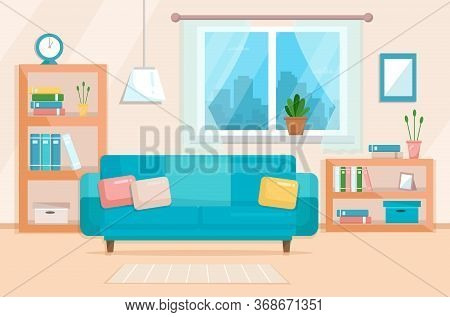 Living Room With Furniture. Cozy Elegant Interior Of Living Room With A Sofa, Various Decorations. F