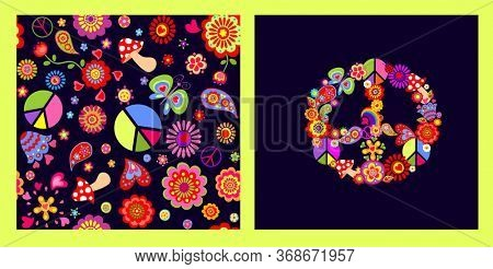 Fashion vivid print and seamless wallpaper with Peace Hippie flower Symbol, flower-power, rainbow, fly agaric, butterfly and paisley for T shirt, textile and bag design on the dark background