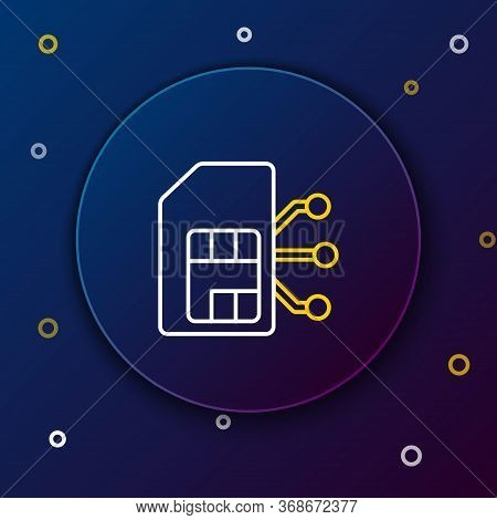 Line Sim Card Icon Isolated On Blue Background. Mobile Cellular Phone Sim Card Chip. Mobile Telecomm
