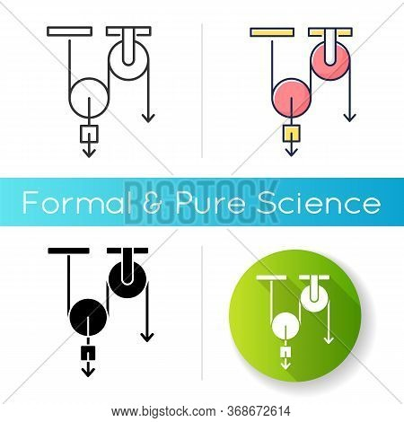 Physics Icon. Fundamental Natural Science, Mechanics. Linear Black And Rgb Color Styles. Traditional