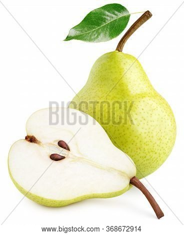 Green Yellow Pear Fruit With Pear Half And Green Leaf Isolated On White Background With Clipping Pat