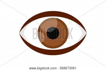 Eye Brown Icon Isolated On White, Illustration Eyeball Brown For Health Care Concept, Eye Redness Fo