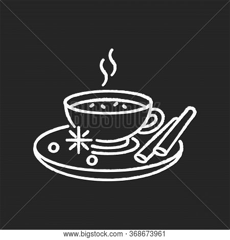 Masala Chai Chalk White Icon On Black Background. Indian Tea With And Herbs. Traditional Drink. Flav