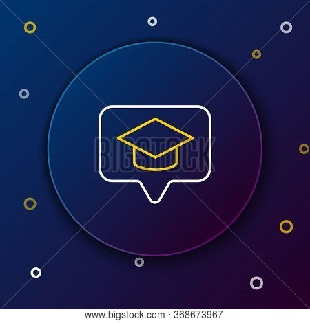 Line Graduation Cap In Speech Bubble Icon Isolated On Blue Background. Graduation Hat With Tassel Ic