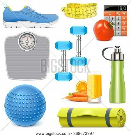 Vector Fitness Accessories Isolated On White Background