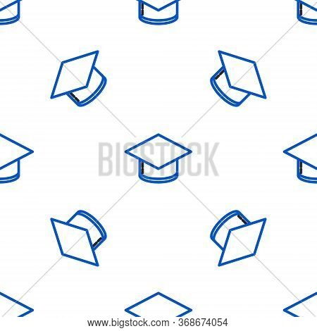 Line Graduation Cap Icon Isolated Seamless Pattern On White Background. Graduation Hat With Tassel I