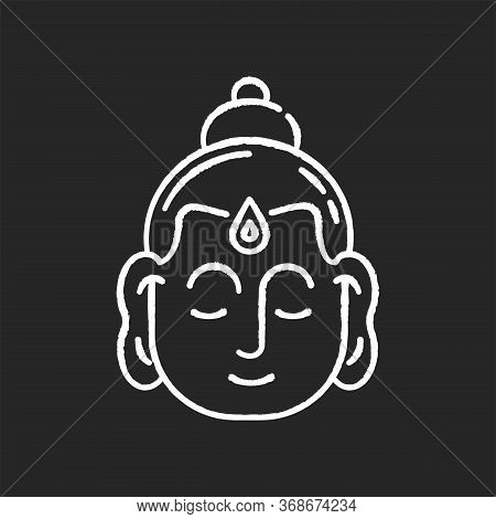 Gautama Buddha Chalk White Icon On Black Background. Indian Philosopher. Religious Leader Of Ancient