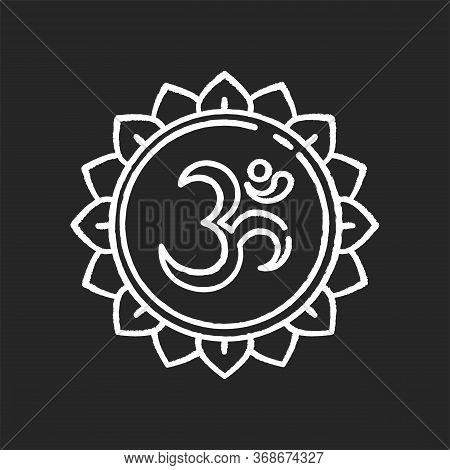 Om Chalk White Icon On Black Background. Aum Visual Representation. Sacred Syllable. Sound Of Univer