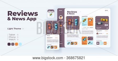 Auto Reviews And News App Screen Vector Adaptive Design Template. Application Day Mode Interface Wit