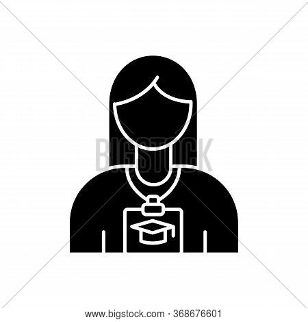 Intern Black Glyph Icon. Corporate Training For Trainee. Instruction In Company. University Practice