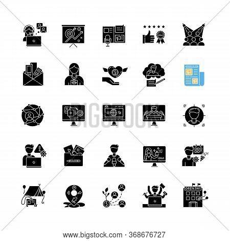 Pr Marketing Black Glyph Icons Set On White Space. Brand Image. Corporate Identity. Company Employme