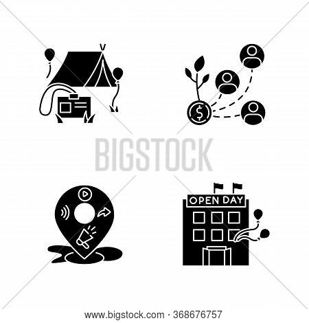 Event Organization Black Glyph Icons Set On White Space. Special Event For Corporate Employees. Stak