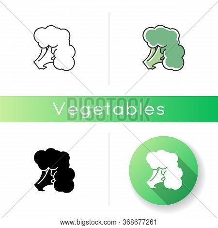 Broccoli Icon. Fresh Vegetable. Whole Vitamin Veggie. Harvest Product From Grocery Store. Raw Vegeta