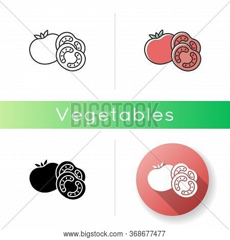 Tomato Icon. Ketchup Sauce Recipe. Fresh Vegetable And Nourishment. Healthy Eating, Nutrient Food Wi