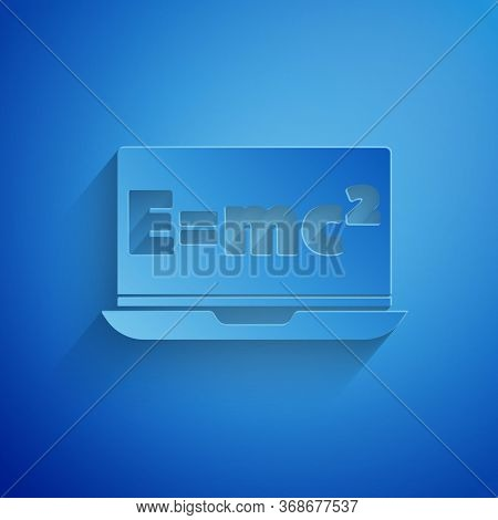 Paper Cut Math System Of Equation Solution On Laptop Icon Isolated On Blue Background. E Equals Mc S