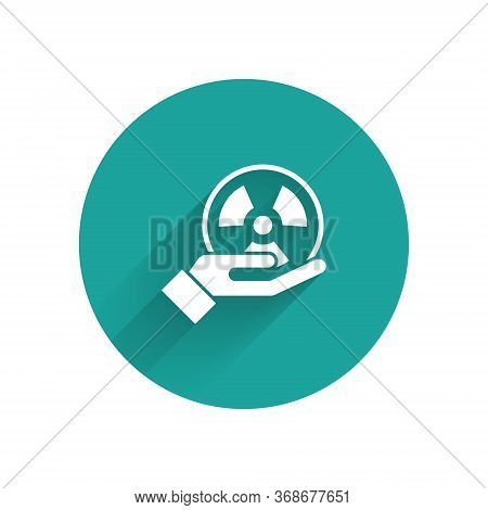 White Radioactive In Hand Icon Isolated With Long Shadow. Radioactive Toxic Symbol. Radiation Hazard