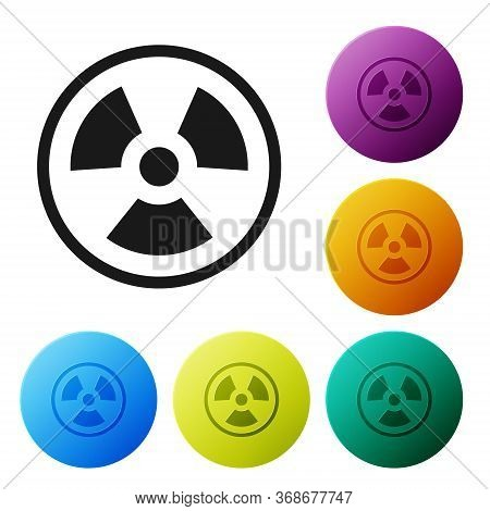 Black Radioactive Icon Isolated On White Background. Radioactive Toxic Symbol. Radiation Hazard Sign