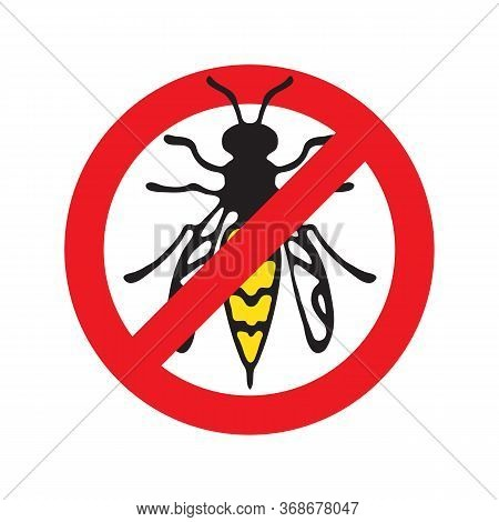 Wasp Or Bee Or Hornet Stop Symbol. A Stinging Insect. Hand Drawn Style. Design Element For Flyer, Le
