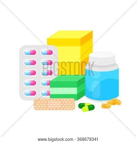 Medicine Drug Pile Isolated On White, Illustration Pill Different, Medicine Icon Set For Health Care
