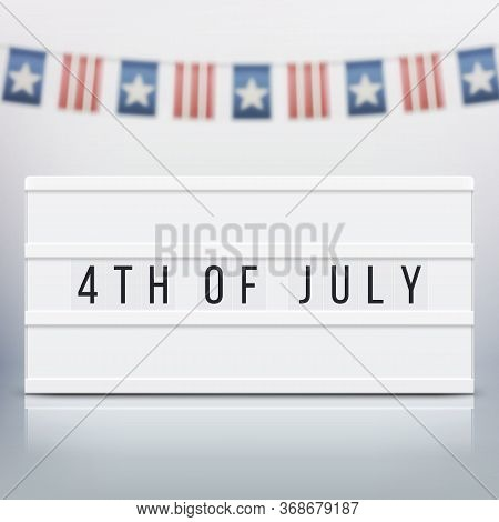 White Lightbox With Customizable Design. Mockup For Elections, Memorial Day, 4th Of July Or Labour D