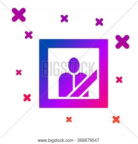Color Mourning Photo Frame With Black Ribbon Icon Isolated On White Background. Funeral Ceremony And