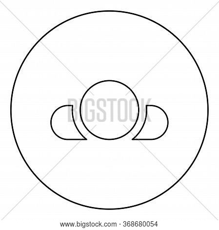 Man Lying On Back View Head Shoulders Icon In Circle Round Outline Black Color Vector Illustration F