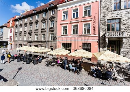 Tallinn, Estonia - May 26, 2019: People Walking On Central Street In Old Town In Tallinn