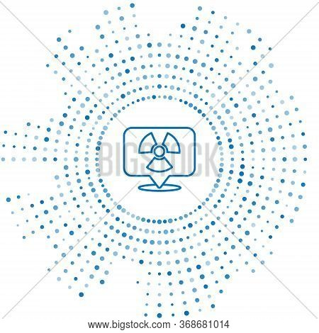 Blue Line Radioactive In Location Icon Isolated On White Background. Radioactive Toxic Symbol. Radia