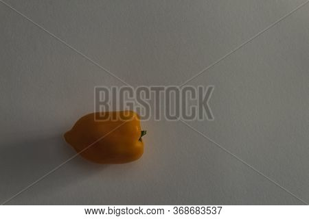 Isolated Orange Pepper Fruit On The Table