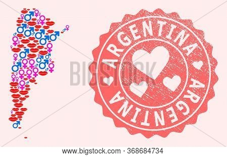 Vector Combination Of Love Smile Map Of Argentina And Red Grunge Seal Stamp With Heart. Map Of Argen