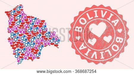 Vector Combination Of Love Smile Map Of Bolivia And Red Grunge Seal Stamp With Heart. Map Of Bolivia