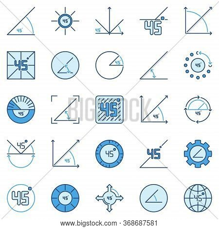 45 Degree Colored Icons Collection - Vector 45 Degrees Angle Concept Signs
