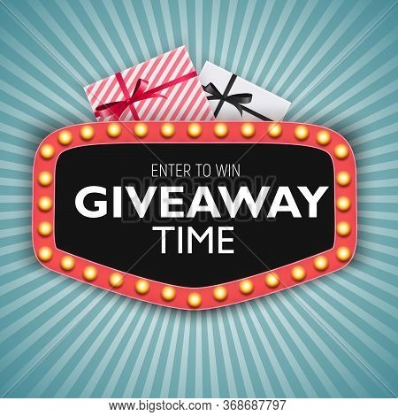 Enter To Win. Giveaway Time. Vector Illustration