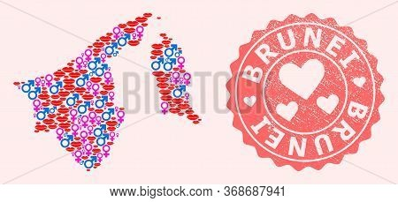 Vector Collage Of Love Smile Map Of Brunei And Red Grunge Seal With Heart. Map Of Brunei Collage For