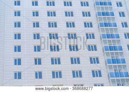Modern Apartment Buildings On A Sunny Day. Facade Of A Modern Apartment Building. Residential Buildi